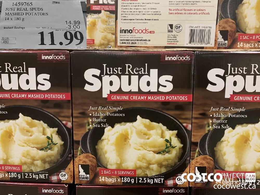 1459765 JUST REAL SPUDS MASHED POTATOES 14 x 180 g EXP. 2020-12-13 $11.99