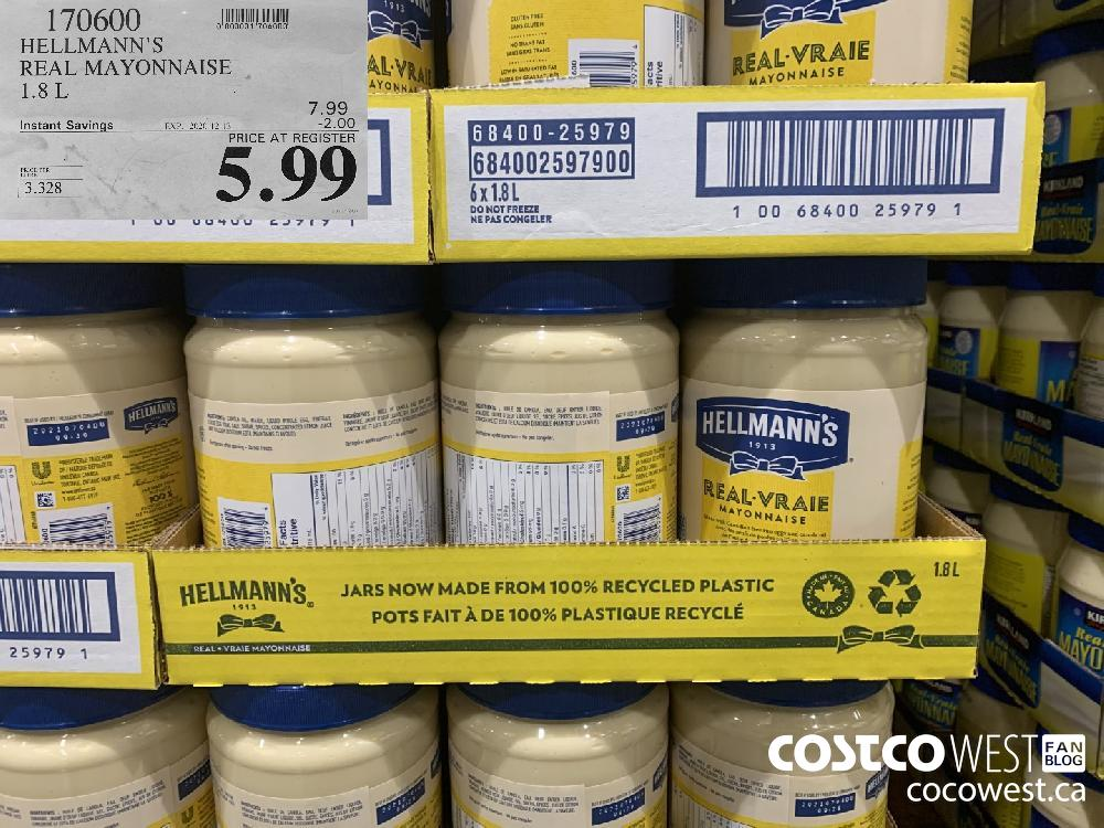 170600 HELLMANN'S REAL MAYONNAISE 1.8L EXP. 2020-12-13 $5.99
