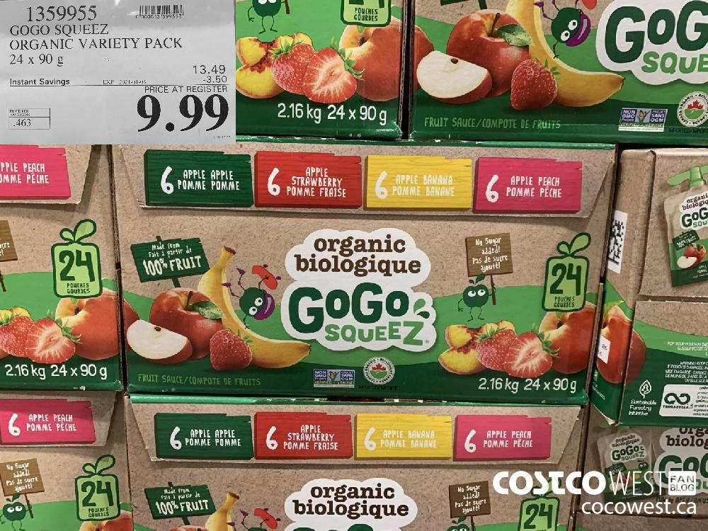 1359955 GOGO SQUEEZ ORGANIC VARIETY PACK 24 x 90 g EXP. 2021-01-03 $9.99