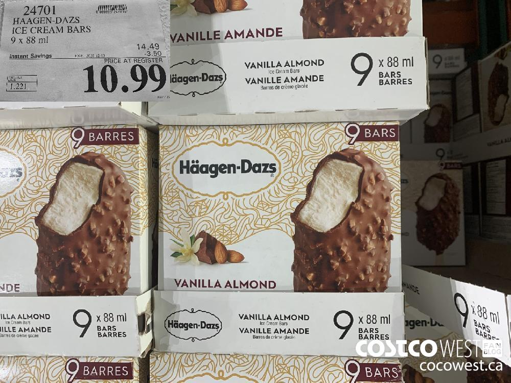 24701 HAAGEN-DAZS ICE CREAM BARS 9 x 88 ml EXP. 2020-12-13 $10.99