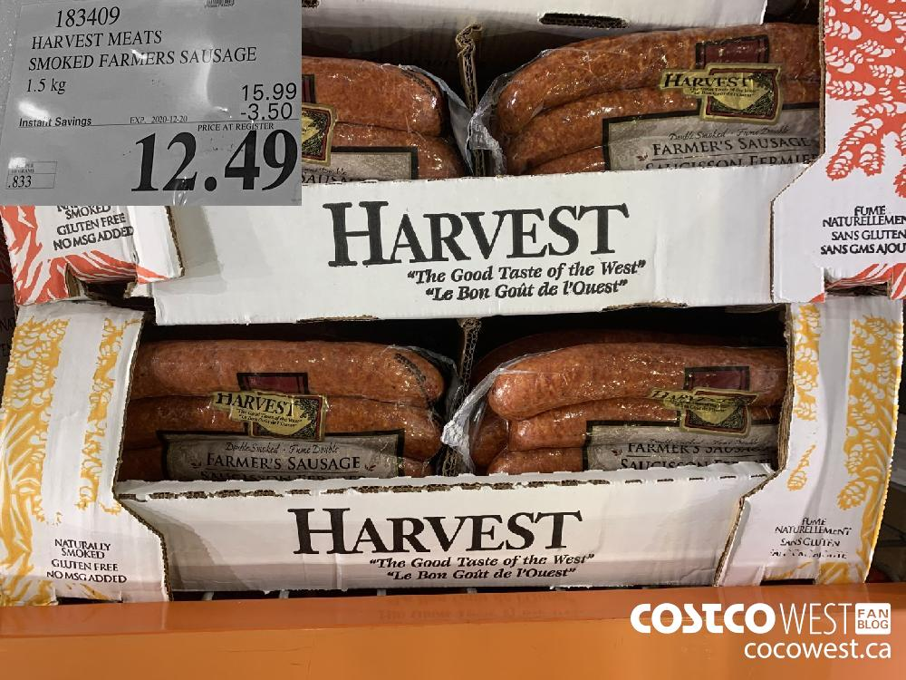 183409 HARVEST MEATS SMOKED FARMERS SAUSAGE 1.5 kg EXP. 2020-12-20 $12.49