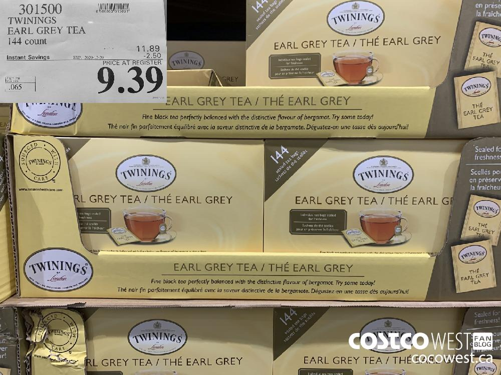 301500 TWININGS EARL GREY TEA 144 count EXP. 2020-12-20 $9.39