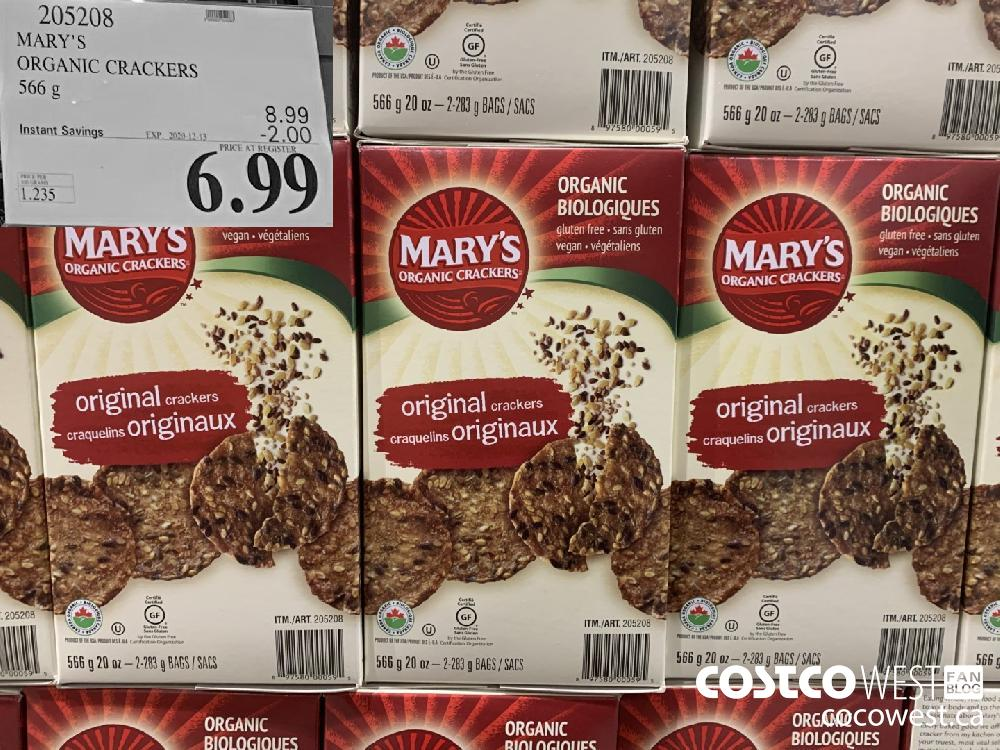 205208 MARY'S ORGANIC CRACKERS 566 g EXP. 2020-12-13 $6.99