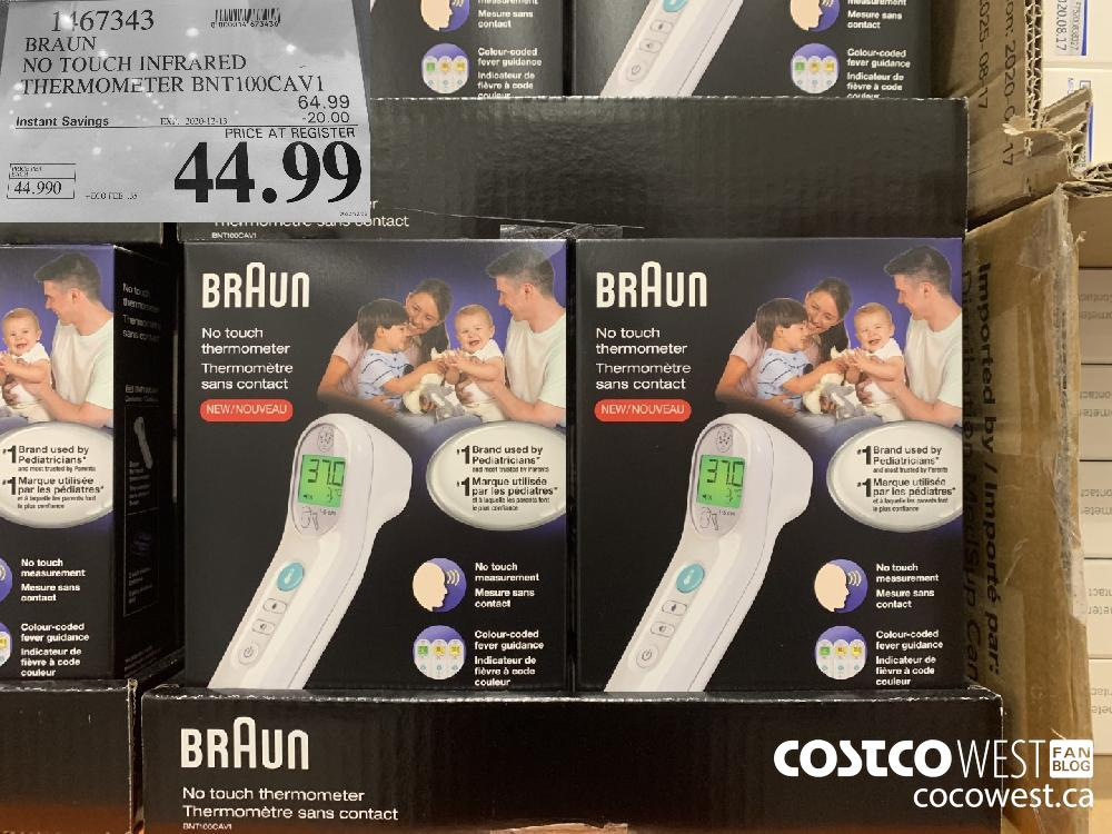 1167343 BRAUN NO TOUCH INFRARED THERMOMETER BNT100CAV1 EXP. 2020-12-13 $44.99