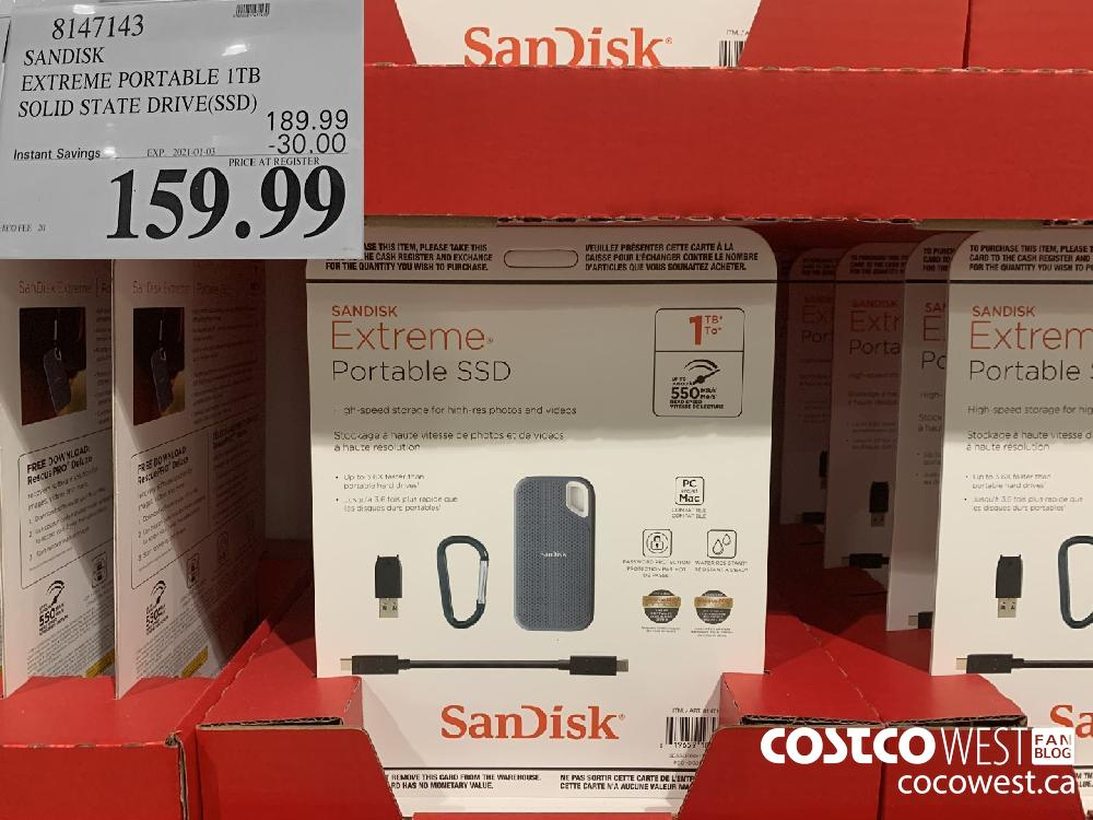 8147143 SANDISK EXTREME PORTABLE 1TB SOLID STATE DRIVE(SSD) EXP. 2021-01-03 $159.99