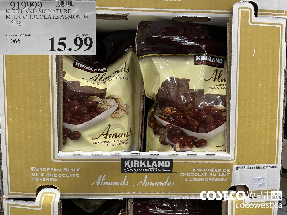 919999 KIRKLAND SIGNATURE MILK CHOCOLATE ALMONDS 1.5 kg $15.99