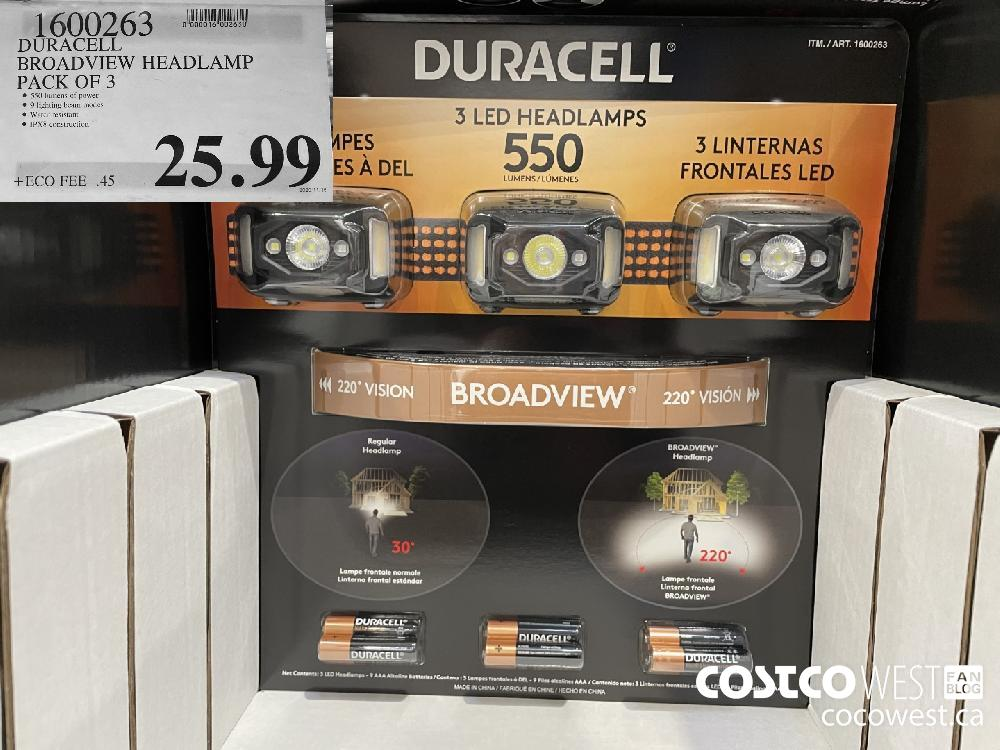 1600263 DURACELL BROADVIEW HEADLAMP PACK on 3 $25.99