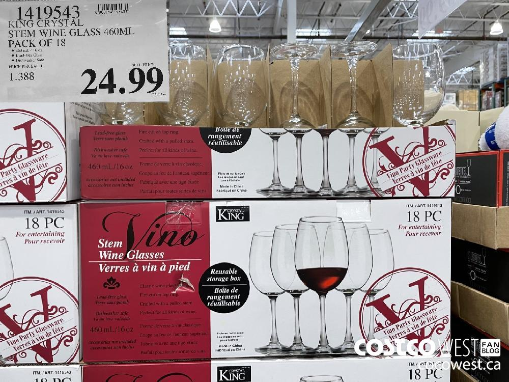 1419543 KING CRYSTAL STEM WINE GLASS 460ML PACK OF 18 $24.99