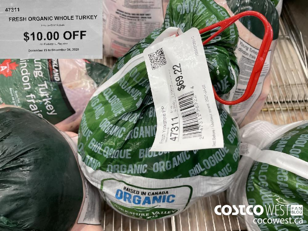 47311 FRESH ORGANIC WHOLE TURKEY Less In-Store Rebate $10.00 OFF Per Package at Register December 23 to December 24 2020