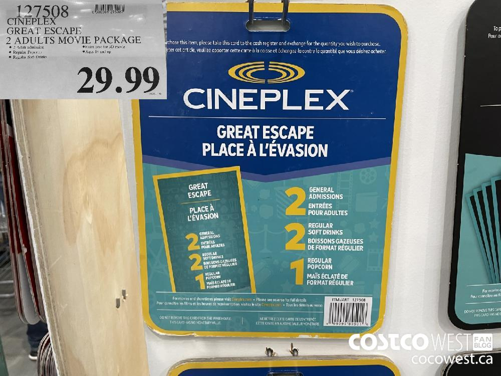 127508 CINEPLEX GREAT ESCAPE 2 ADULTS MOVIE PACKAGE $29.99