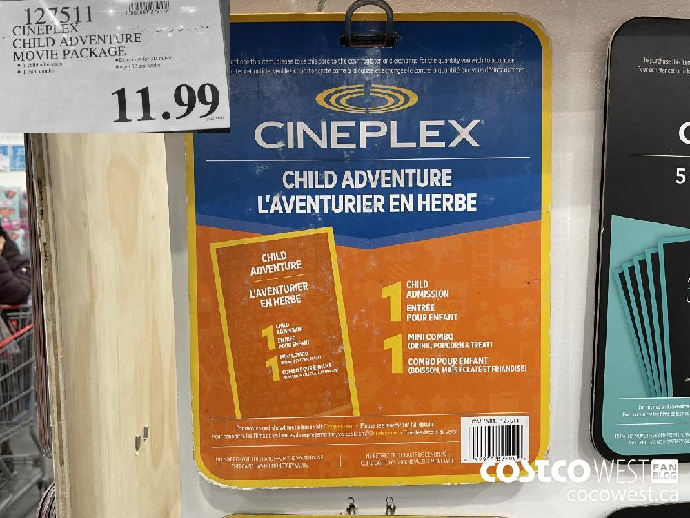 127511 CINEPLEX CHILD ADVENTURE MOVIE PACKAGE $11.99