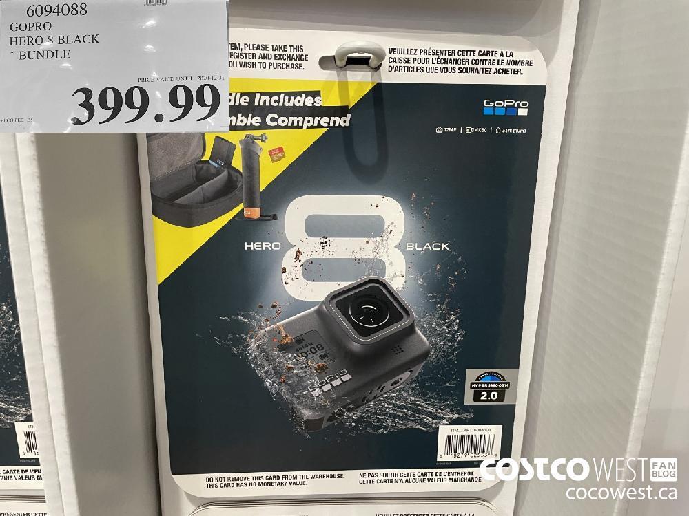 6094088 GOPRO HERO 8 BLACK * BUNDLE PRICE VALID UNTIL 2020-12 31 $399.99