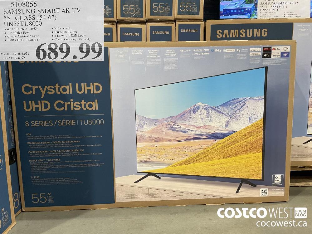 """5108055 SAMSUNG SMART 4K TV 55"""" CLASS (54.6"""") UNS5S5TU8000 VALID UNTIL 12/31 $689.99"""