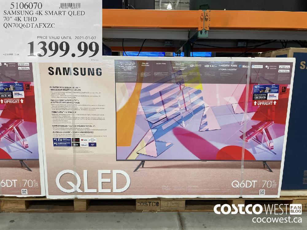"510607 SAMSUNG 4K SMART QLED 70"" 4K UHD QN70Q6DTAFXZC PRICE VALID UNTIL 2021-01-07 $1399.99"