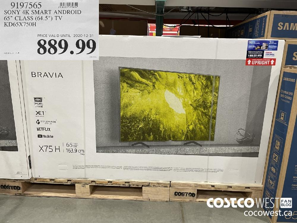 """9197565 SONY 4K SMART ANDROID 65"""" CLASS (64.5"""") TV KD65X750H PRICE VALID UNTIL 2020-12-31 $889.99"""