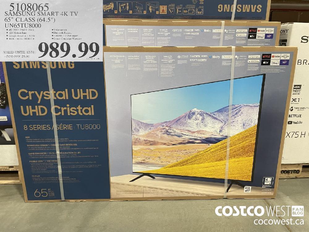 """5108065 SAMSUNG SMART 4K TV 65"""" CLASS (64.5"""") UN65TU8000 VALID UNTIL 12/31 $989.99"""