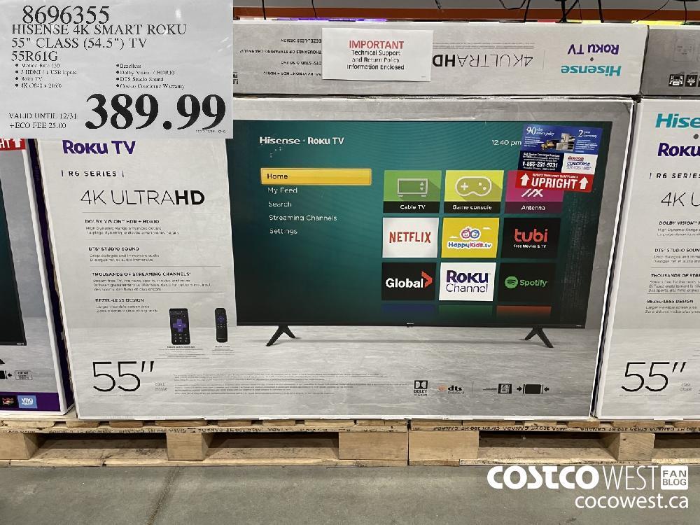 """8696355 HISENSE 4K SMART RCKU 35"""" CLASS (54.5"""") TV SSR61G VALID UNTIL 12/31 $389.99"""