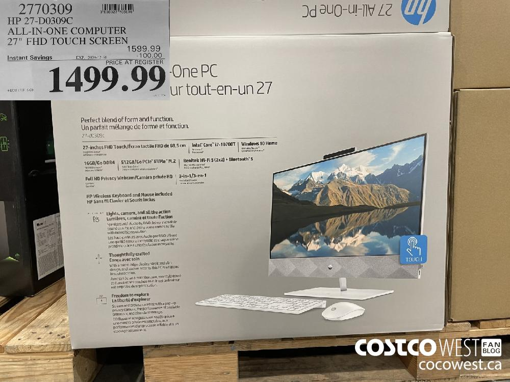 2770309 HP 27-D0309C ALL-IN-ONE COMPUTER 27 FD TOUCH SCREEN EXPIRY DATE: 2020-12-31 $1499.99