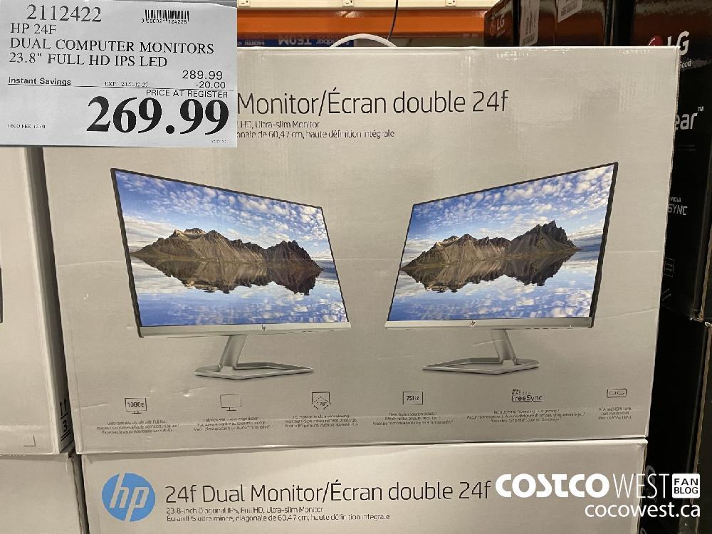 "2112422 HP 24F DUAL COMPUTER MONITORS 23.8"" FULL HD IPS LED EXPIRY DATE: 2020-12-27 $269.99"