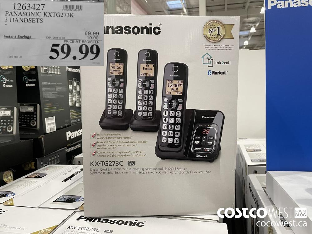 1263427 PANASONIC KXTG273K 3 HANDSETS EXPIRY DATE: 2021-01-03 $59.99