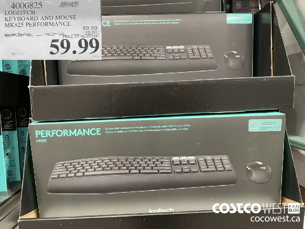 4000825 LOGITECH KEYBOARD AND MOUSE MK825 PERFORMANCE EXPIRY DATE: 2020-12-28 $59.99