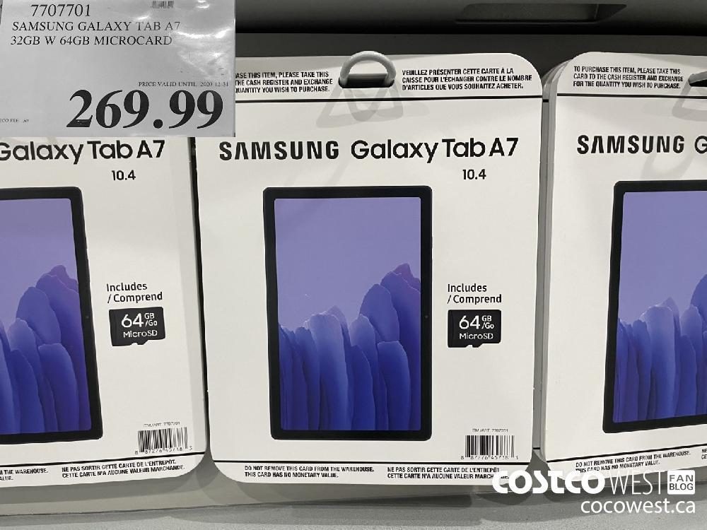 7707701 SAMSUNG GALAXY TAB A7 32GB W 64GB MICROCARD PRICE VALID UNTIL 2020-12-31 $269.99