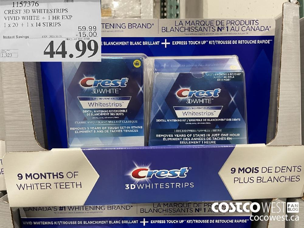 1157376 CREST 3D WHITESTRIPS VIVID WHITE 1 HR EXPIRY DATE: 1 x 20 1 x 14 STRIPS EXPIRY DATE: 2021-01-03 $44.99