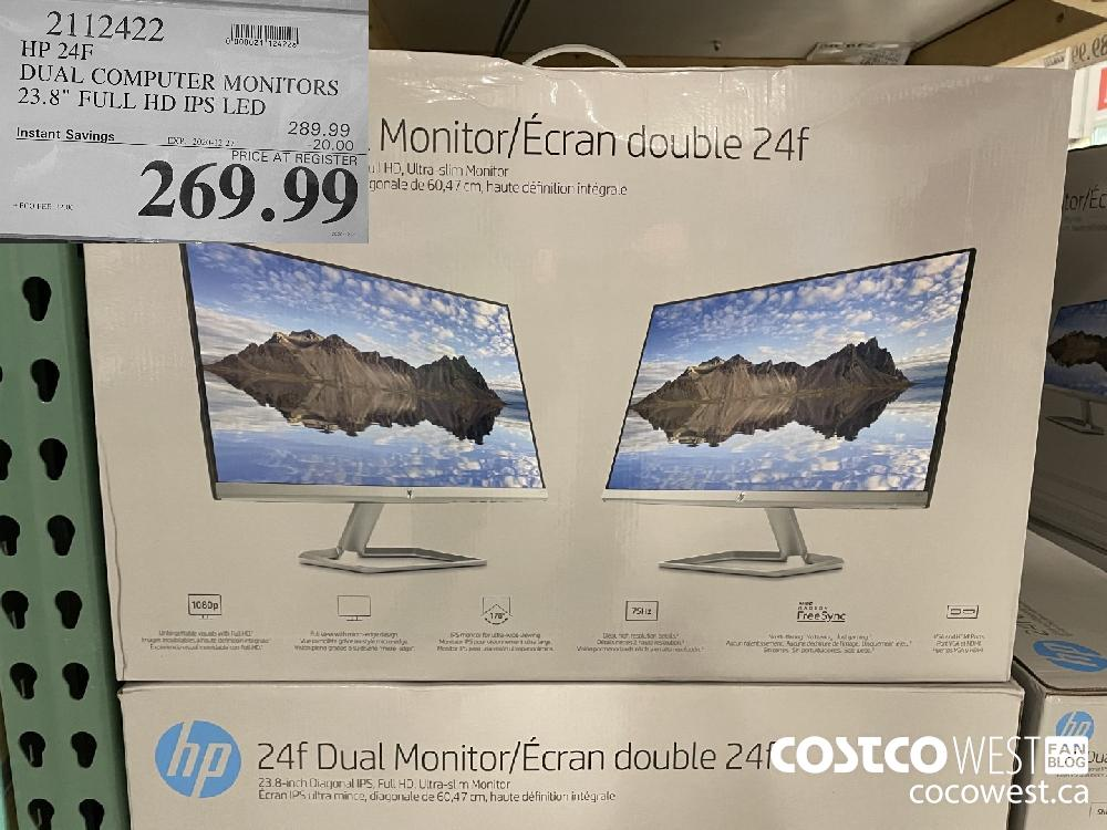 "2112422 HP 24F DUAL COMPUTER MONITORS 23.8"" FULL HD IPS LED EXPIRY DATE: 2020-12-27 -20.00 $269.99"