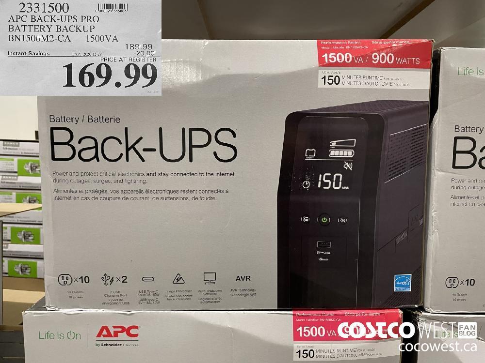 2331500 APC BACK-UPS PRO BATTERY BACKUP BN150GM2-CA 1ISOOVA EXPIRY DATE: 2020-12-28 $169.99