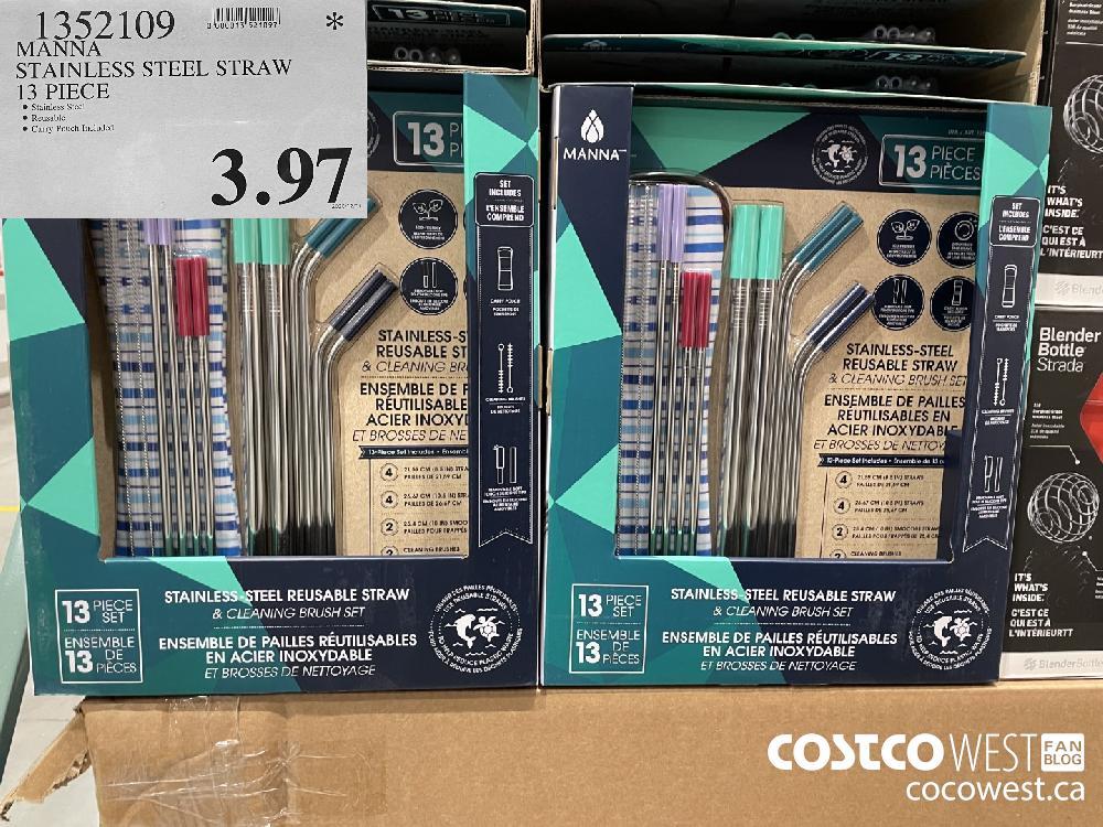 1352109 MANNA STAINLESS STEEL STRAW 13 PIECE $3.97