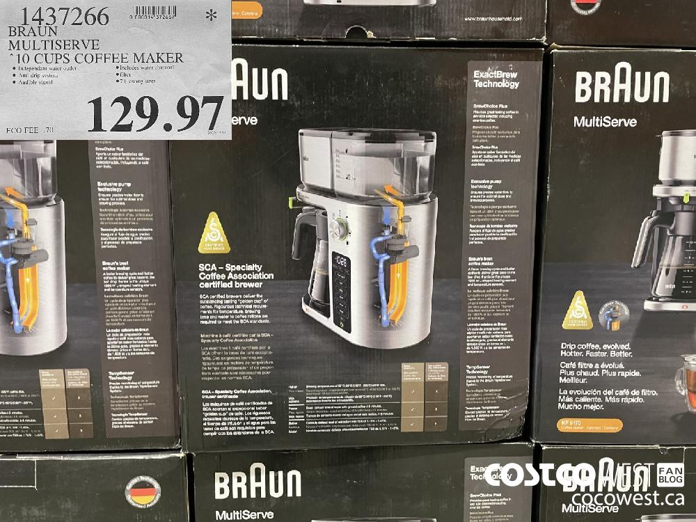 1437266 BRAUN MULTISERVE 10 CUPS COFFEE MAKER $129.97