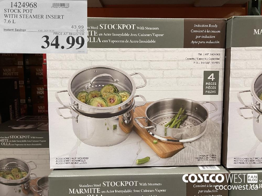 1424968 STOCK POT WITH STEAMER INSERT 7.6L EXPIRY DATE: 2021-01-03 $34.99