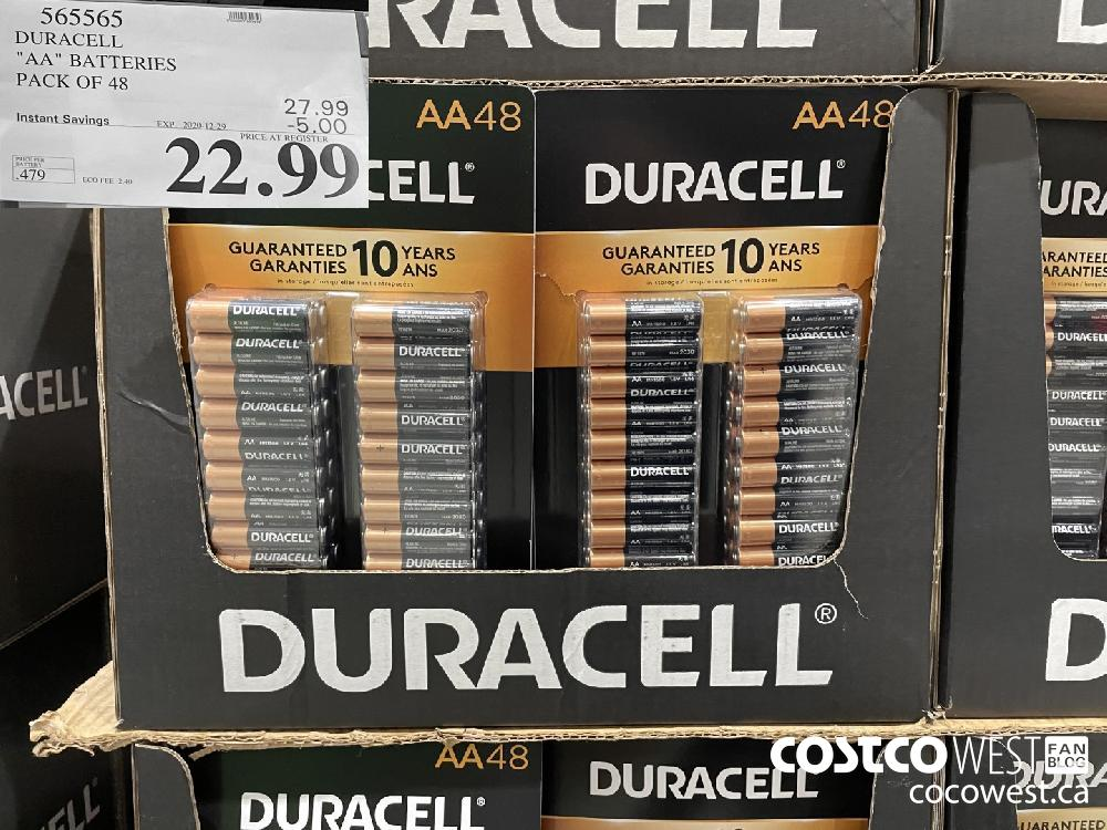 """565565 DURACELL """"AA"""" BATTERIES PACK OF 48 EXPIRY DATE: 2020-12-29 $22.99"""