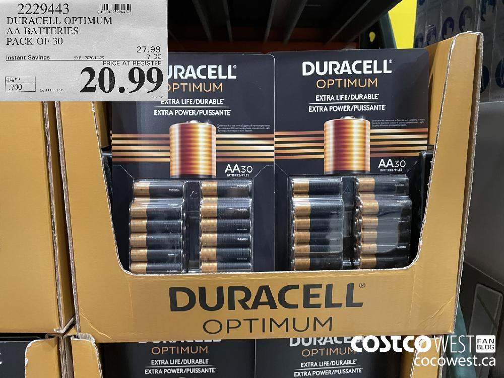 2229443 DURACELL OPTIMUM AA BATTERIES PACK OF 30 EXPIRY DATE: 2020-12-29 $20.99