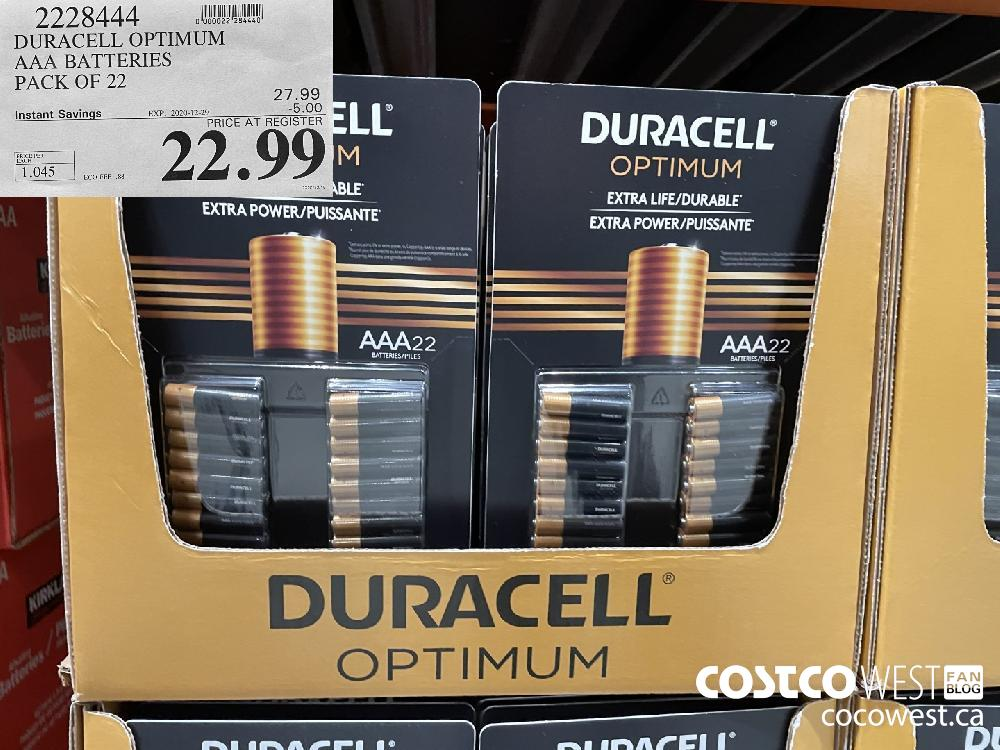 2228444 DURACELL OPTIMUM AAA BATTERIES PACK OF 22 EXPIRY DATE: 2020-12-29 $22.99