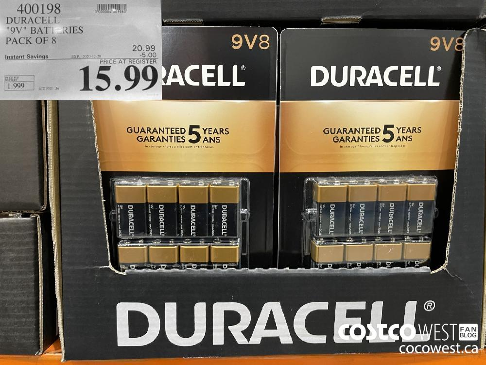 "400198 DURACELL ""9V"" BATTERIES PACK OF 8 EXPIRY DATE: 2020-12-29 $15.99"