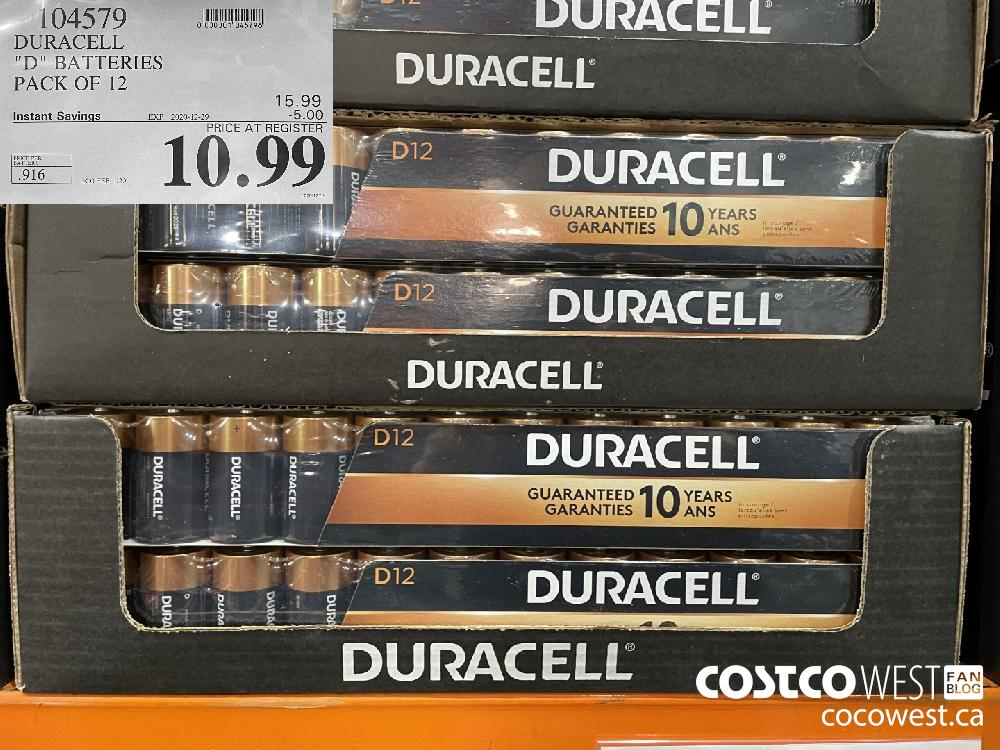 """104579 DURACELL """"D"""" BATTERIES PACK OF 12 EXPIRY DATE: 2020-12-29 $10.99"""