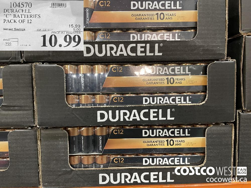 """104570 DURACELL """"C"""" BATTERIES PACK OF 12 EXPIRY DATE: 2020-12-29 $10.99"""