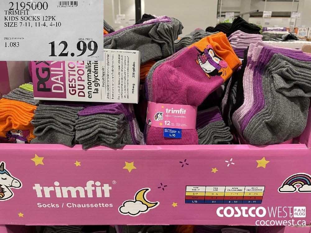 2195000 TRIMFIT KIDS SOCKS 12PK SIZE 7-11 11-4 4-10 $12.9