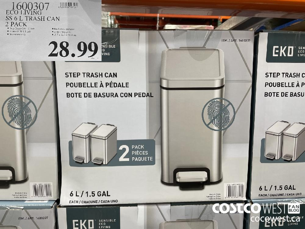 1600307 ECO LIVING SS 6 L TRASH CAN 2 PACK $28.99