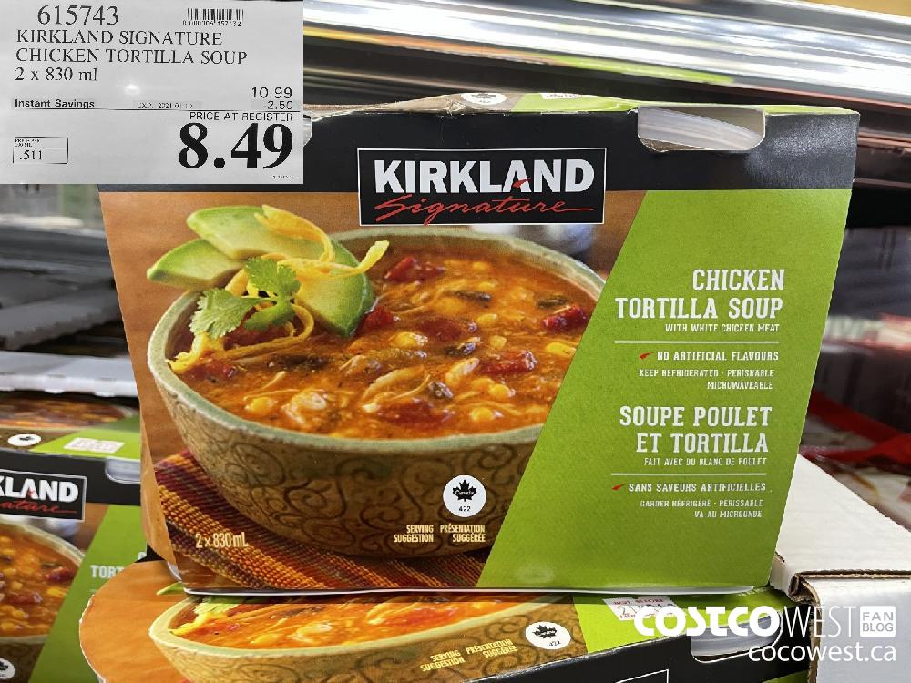615743 KIRKLAND SIGNATURE CHICKEN TORTILLA SOUP 2 x 830 ml EXPIRY DATE: 2021-01-10 $8.49
