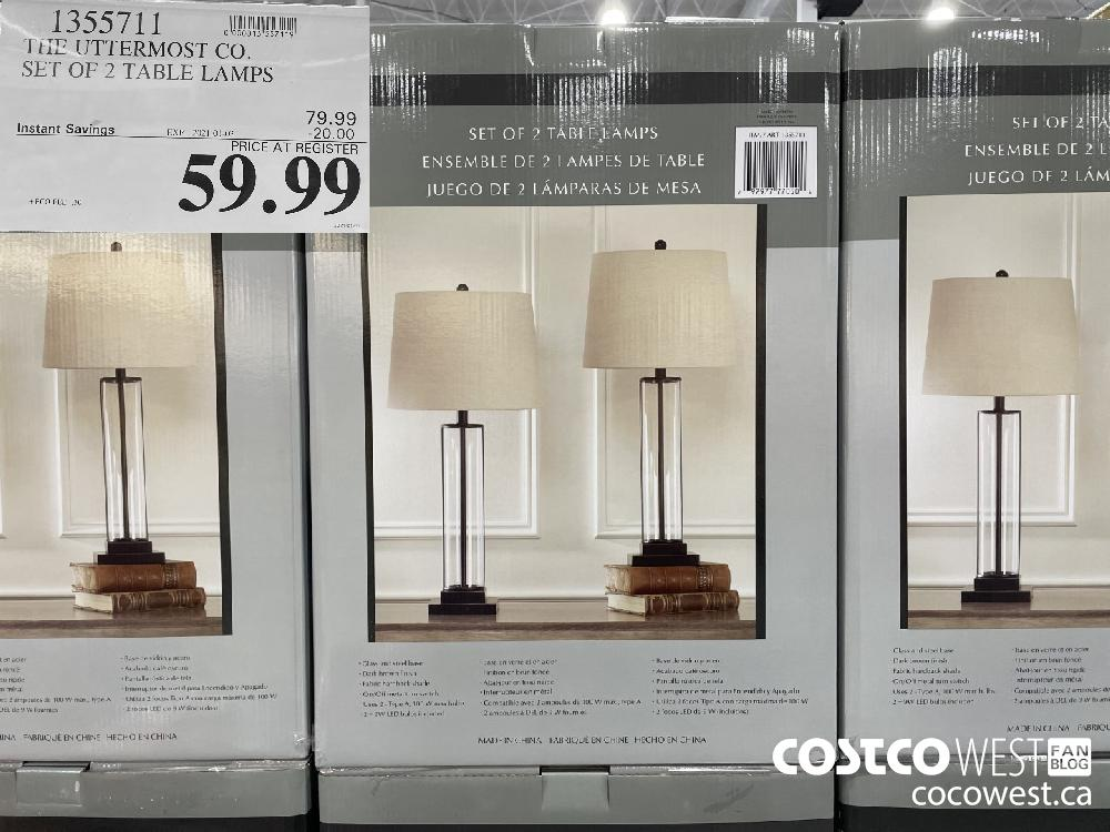 1355711 Th UTTERMOST CO. SET OF 2 TABLE LAMPS EXPIRY DATE: 2021-01-03 $59.99