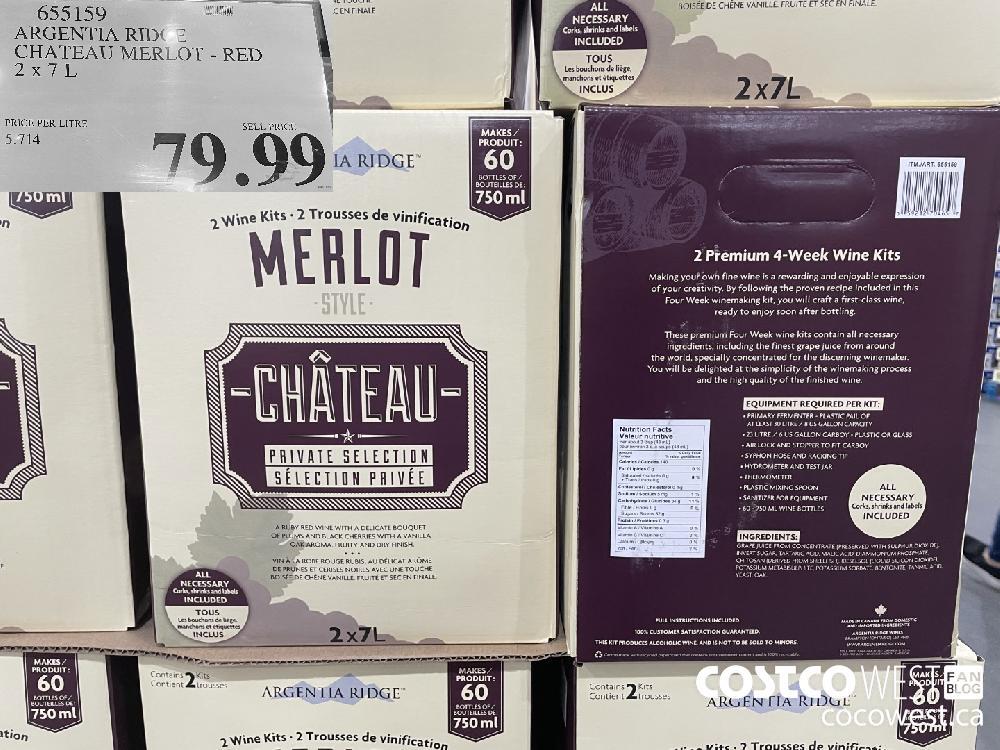 655159 ARGENTIA RIDGE CHATEAU MERLOT - RED 2 X 7 L $79.99