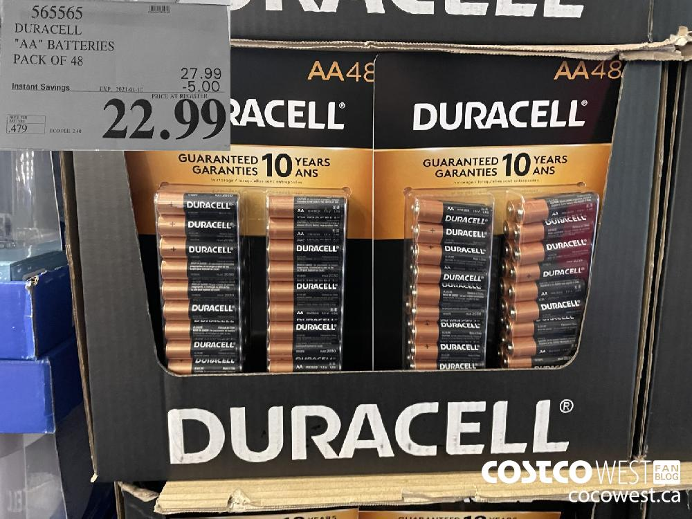 """565565 DURACELL """"AA"""" BATTERIES PACK OF 48 EXPIRY DATE: 2021-01-10 $22.99"""