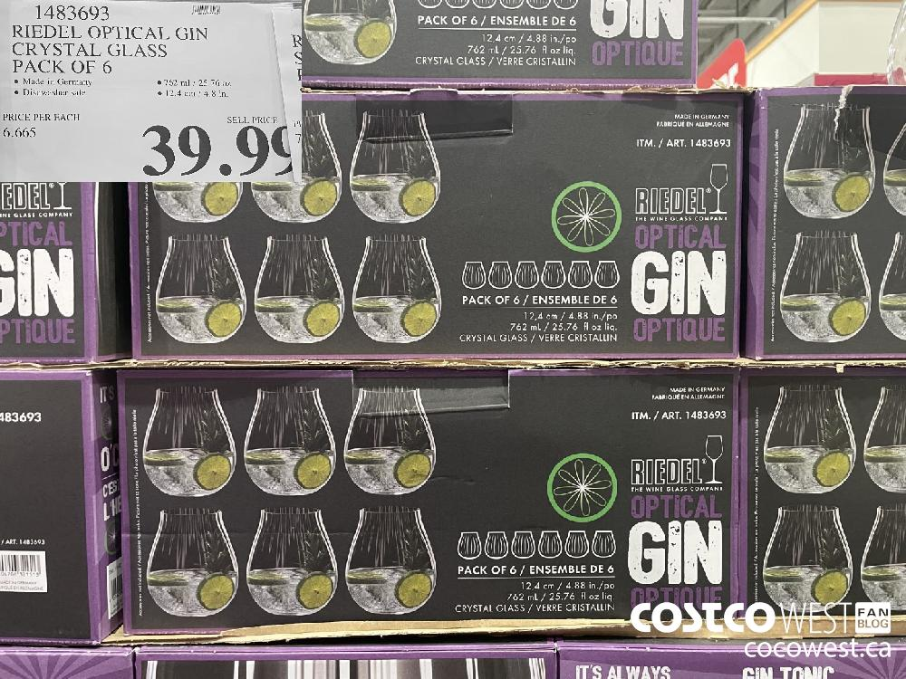 1483693 RIEDEL OPTICAL GIN CRYSTAL GLASS PACK OF 6 ; $39.99