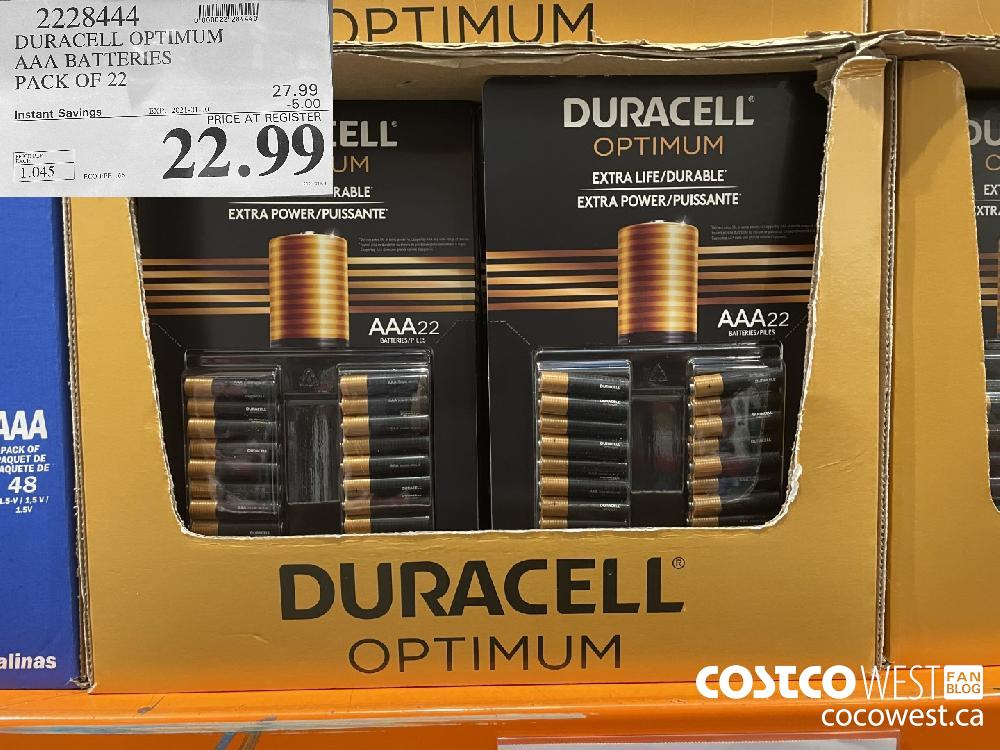 2223444 DURACELL OPTIMUM AAA BATTERIES PACK OF 22 EXPIRY DATE: 2021-01-10 $22.99