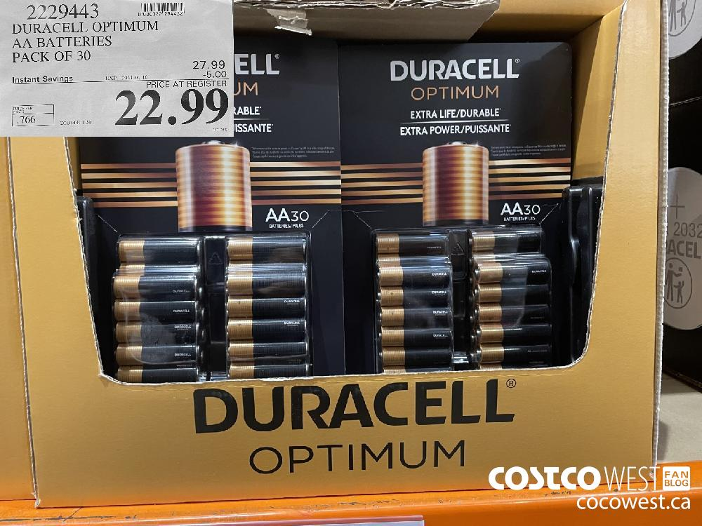 2229443 DURACELL OPTIMUM AA BATTERIES PACK OF 30 EXPIRY DATE: 2021-01-10 $22.99