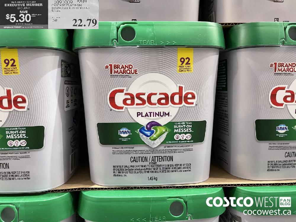 1091009 CASCADE PLATINUM DISHWASHER DETERGENT 92 tabs $22.79