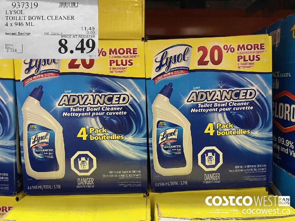 937319 LYSOL TOILET BOWL CLEANER 4 x 946 ML EXPIRY DATE: 2021-01-10 $8.49