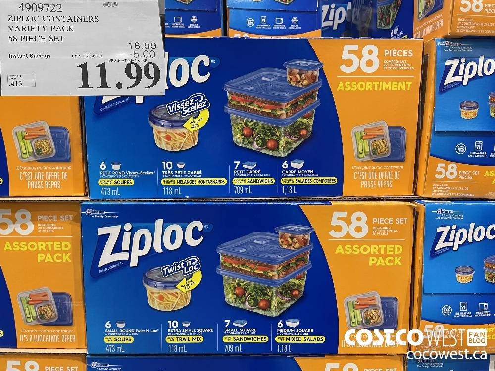 4909722 ZIPLOC CONTAINERS VARIETY PACK 58 PIECE SET EXPIRY DATE: 2021-01-17 $11.99